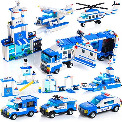 Zac-T ビルディングブロック 1039 PCS 積み木 ブロック おもちゃ クリエイティブパーツ 巡洋艦、オフロード車両、警察司令部 3D立体パズル DIY 模型 知育玩具 親子ゲームおもちゃ 新年プレゼント 6歳以上の男の子と女の子に最適 誕生日 入
