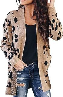 Bravetoshop Womens Leopard Printed Cardigans Coat, Long Sleeve Lightweight Draped Open Front Pockets Outwear Overcoat