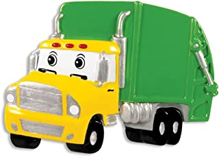 Personalized Garbage Truck Christmas Tree Ornament 2019 - Yellow Green Mighty Toy Machine Eyes 3rd Grade Trash Collector Boy Toddler Monster Pixar Car Colossu XXL Kid Gift Year - Free Customization
