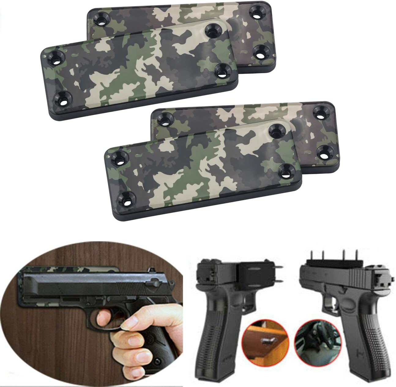 HECLOUD 4 Pcs Magnet Gun Holder 50lbs Wall Special price for a limited time Fees free Concealed Mount
