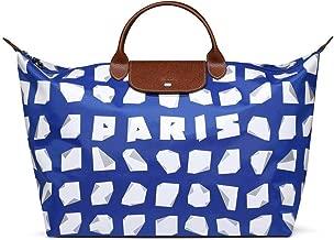 Longchamp Vahram Muratyan Paris Blue White Origami Paper Travel small medium Bag New