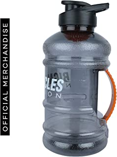 Bigmuscles Nutrition Protein Shaker Bottle with Mixer Ball and Strainer (1L, Black)