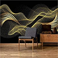 写真の壁紙3D立体空間カスタム大規模な壁紙の壁紙 ゴールデンリーフラインの壁の装飾リビングルームの寝室の壁紙の壁の壁画の壁紙テレビのソファの背景家の装飾壁画-400X280cm