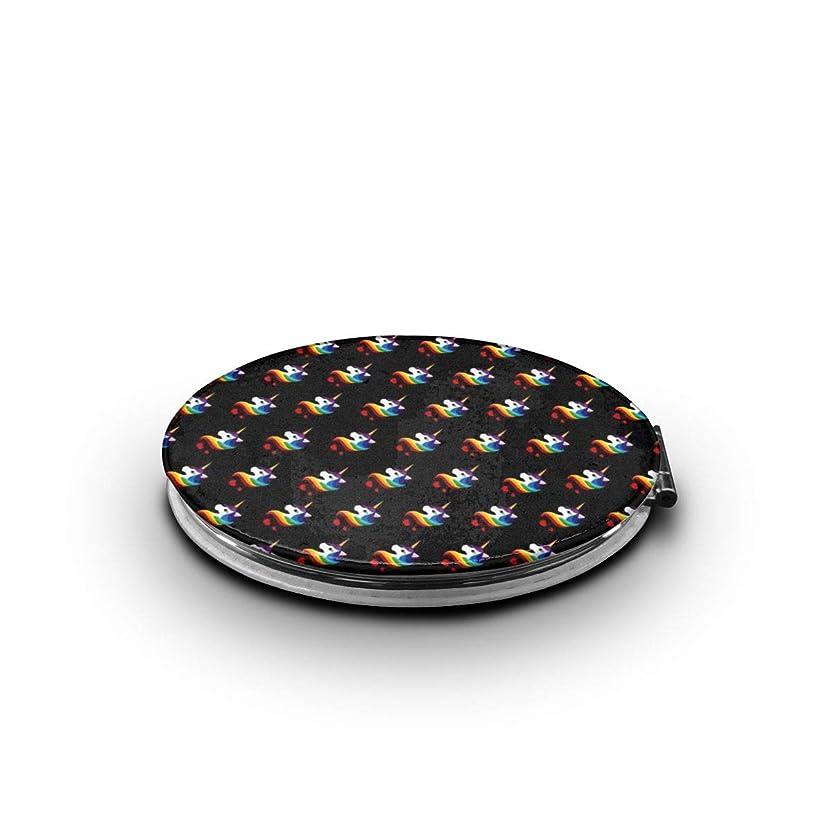 虚弱ハム申し立てられた携帯ミラー レインボーのユニコーンミニ化粧鏡 化粧鏡 3倍拡大鏡+等倍鏡 両面化粧鏡 楕円形 携帯型 折り畳み式 コンパクト鏡 外出に 持ち運び便利 超軽量 おしゃれ 9.0X6.6CM