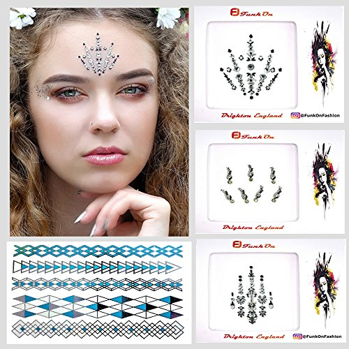 4 Pack Silver Face Gems Face Jewels with Temporary Henna Flash Tattoos/Mermaid Rhinestone Rave Glitter/Bindis Eyes Crystals/Face Body Stick On Diamantes/festival Makeup Kit lotc