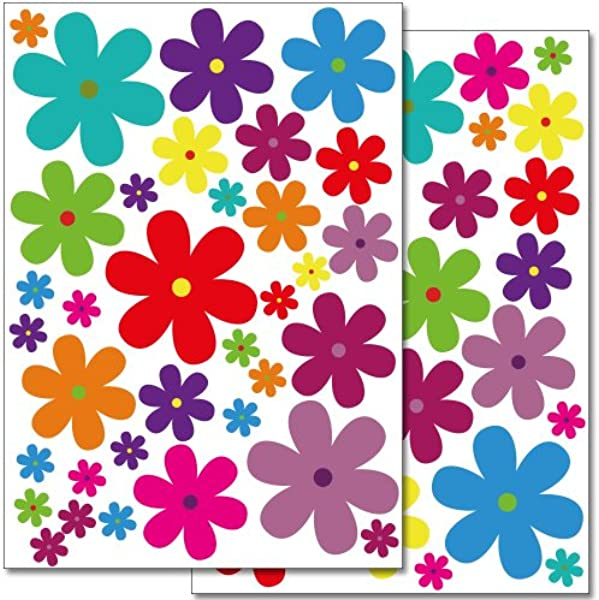 Wandkings Wall Stickers Colourful Flowers Design 3 Sticker Set 62 Stickers On 2 US Letter Sheets Each 8 3 X 11 7 Inch