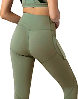 Yoga Clothes European And American Women's High Waist Tights With Pockets Mesh Sexy Leggings Yoga Pants for Yoga Pilates J...
