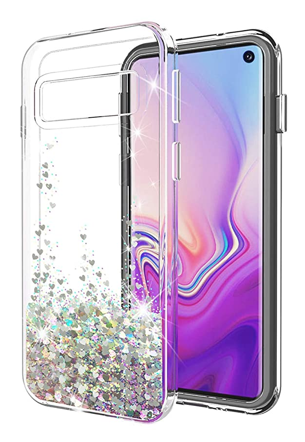 Galaxy S10E case SunStory Luxury Fashion Design with Moving Shiny Quicksand Glitter and Double Protection with PC layer and TPU Bumper Case for Samsung Galaxy S10E Phone (Sliver)