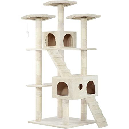 Amazon Com Cat Tree Cat Tower Cat Condo 72 Inches Tall Multi Level Playpen House Kitty Activity Tree Center With Funny Toys Multiple Colors Beige Pet Supplies