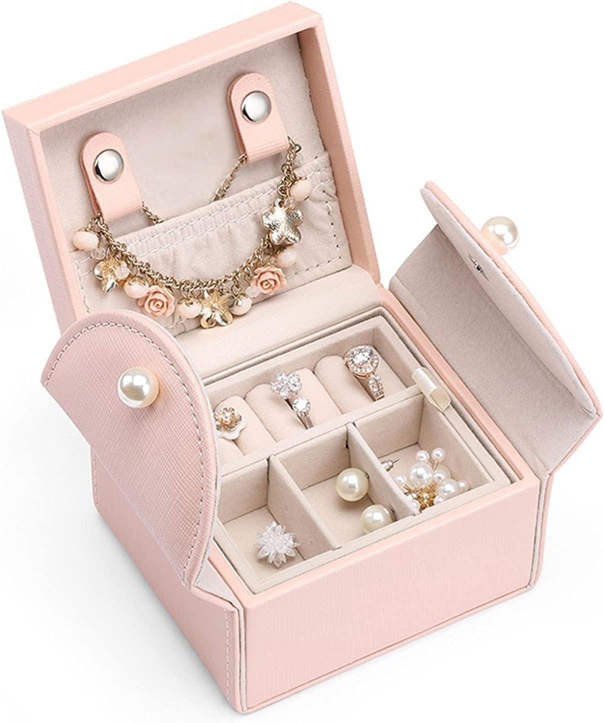 Caja Joyero Jewelry Box, Mini Soft PU Cuero Travel Caja De Almacenamiento 2 Capas Para Pulseras, Pendientes Anillos Collares Broches Regalos Para Mother Girls Mujeres (Rosa) Jewelry Organizer