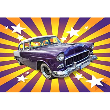 6x6FT Vinyl Photo Backdrops,Classic Car,Cool Vintage Vehicle Photoshoot Props Photo Background Studio Prop