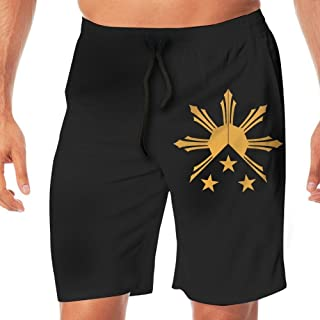 Men Swim Suits 3 Stars and Sun Filipino Philippines Flag Casual Sport Beach Boardshort with Pocket