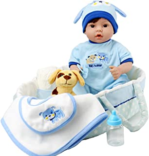Aori Reborn Baby Boy Doll 18 inch Lifelike Relastic Doll in Gentle Touch Weighted Body with Puppy,9-Piece Gift Set with a Baby Carrier/Bassinet