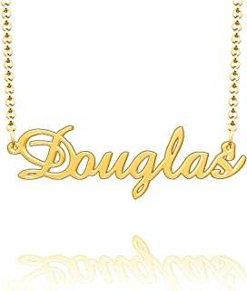 CLY Jewelry Personalized Last Name Necklace Custom Sterling Silver Douglas Plate Customized Gift for Family