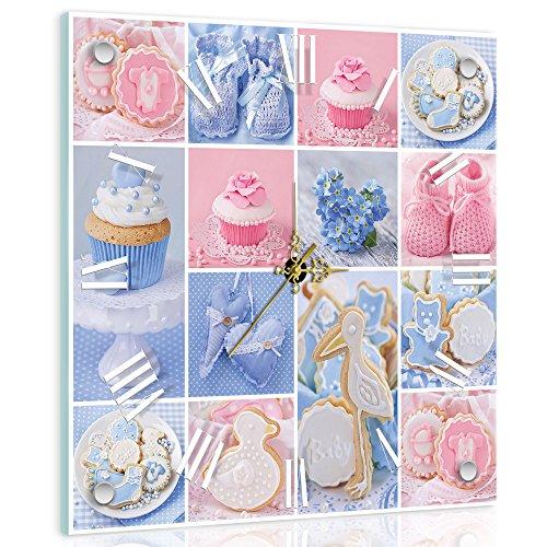 Delester Design Cupcakes wandklok, kleurrijk, glas/raamdecoratie