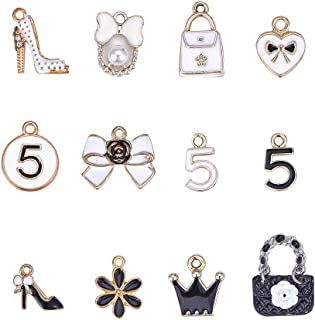 PH PandaHall 48pcs 12 Style Women Enamel Pendants Charms Light Gold Plated Pendants Beads for Mother's Day Earring Necklace Bracelet Making(Bowknot, Handbag, Flower, Crown, High-Heeled Shoes)