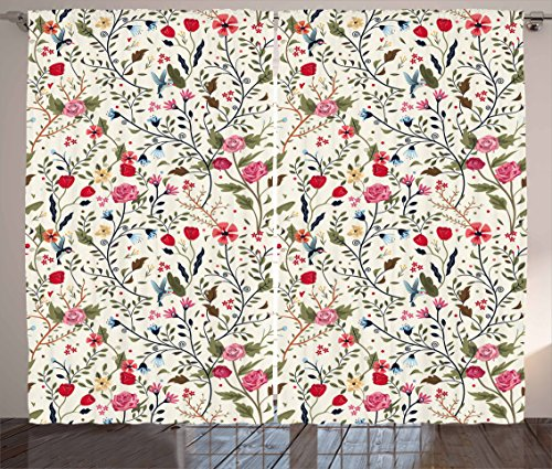 """Ambesonne Floral Curtains, Vibrant Colored Complex Image Birds with Roses Leaves and Polka Dots Nature Scenery, Living Room Bedroom Window Drapes 2 Panel Set, 108"""" X 63"""", Cream Pink"""