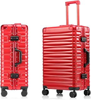 SMLCTY Aluminum Frame Trolley Case,ABS+PC,360° Universal Wheel Large Capacity Boarding,Hard Shell Travel Hold Check In Luggage Suitcase 4 Wheels (Color : Red, Size : 29 inch)