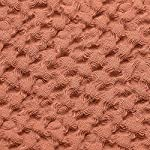 """Linen Bath Towel 100% Pure Flax Cotton Towel - Size 31.5"""" x 55.1"""" inch, Copper Red Closeup Fabric Waffle Texture"""