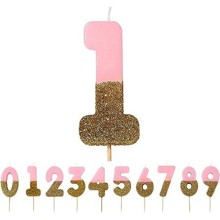 Talking Tables Bday-Candle-1 Decorazione per Torta con 2 Candele di Compleanno, Cera, Glitter Oro e Rosa