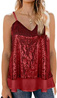 Women Sleeveless Sexy Blouse Sequined Strappy V Neck Camis Tank Top Crop Shirt Tops V Neck Glitter Sequin Splice Evening V...
