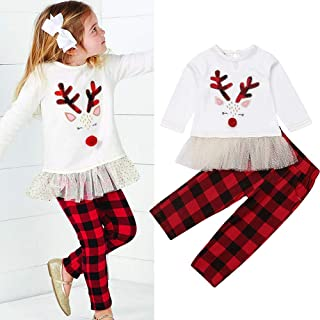 Christmas Toddler Infant Baby Girl boy Reindeer Long Sleeve lace Dress Tops+Plaid Pants 2pcs Set Princess Outfit Clothes