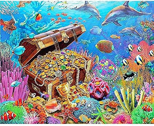 Kits de pintura de diamante 5D para adultos y niños, monedas de oro y peces en la caja de arte de diamantes para adultos pintura con diamantes relajación y decoración de pared del hogar 30 x 40 cm