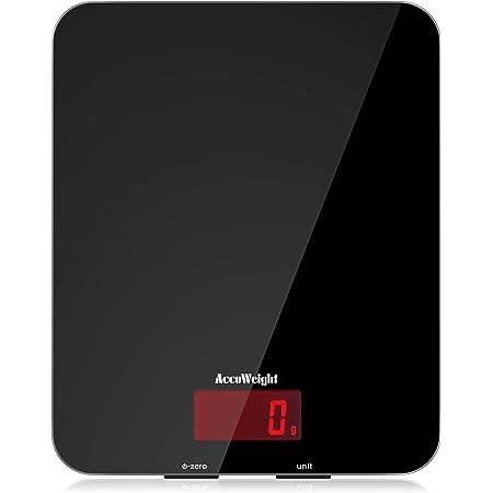 ACCUWEIGHT Bilancia Cucina Digitale Bilancia Alimenti Elettronica Multifunzione con Display LCD per Pesa Cibo, 5 kg / 11 lbs, Superficie in Vetro Temperato, Nero