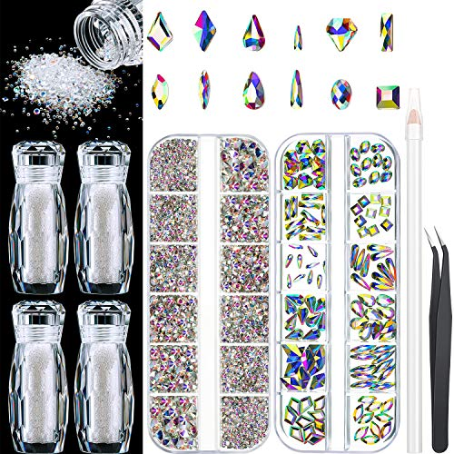 120 Pieces Multi Shapes Glass Crystal Rhinestones, 2000 Pieces AB Nail Art 3D Rhinestones, 4 Bottles Micro Nail Pixie Beads Micro Nail Beads with Rhinestone Picker Dotting Pen, Tweezer for DIY Nail