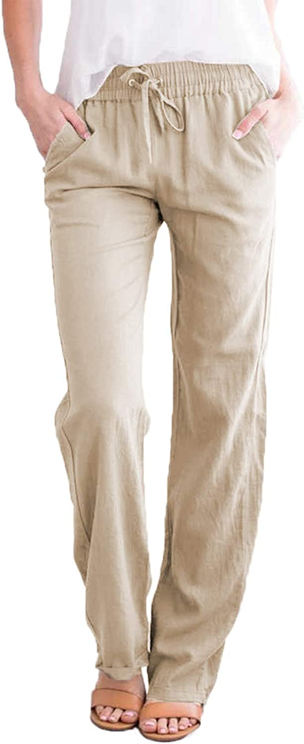 ROSKIKI Women's Solid Drawstring Elastic Waist Long Pants Casual Trousers with Pockets S-XL