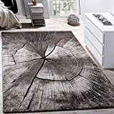 Paco Home Tapis Design Élégant Salon Tronc d'arbre Effet D'Optique Nature Gris Brun Beige, Dimension:200x290 cm