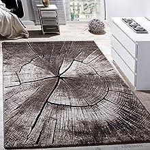Paco Home Alfombra De Salón De Diseño Elegante Estampado De Tronco De Madera Natural Gris Marrón Beige, tamaño:140x200 cm