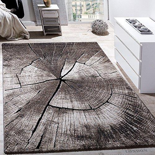 Paco Home Edler Designer Teppich Wohnzimmer Holzstamm Baum Optik Natur Grau Braun Beige, Grösse:80x150 cm