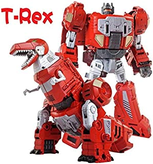 Volcanicus Transformer Power Rangers Grimlock Alloy Dinosaur Action Figure Robot Toys Gifts for Kids Boys (Grimlock(Red T-rex)