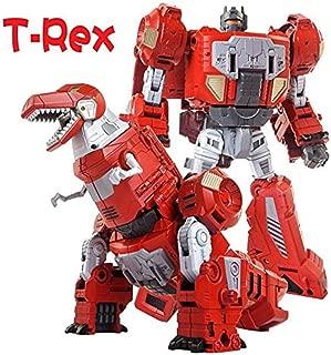Volcanicus Transformer Power Ranger Grimlock Alloy Dinosaur Action Figure Robot Toys Gifts for Kids Boys (Grimlock(Red T-rex)
