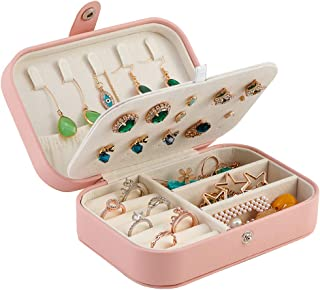 Jewelry Travel Organizer Small Jewelry Box Leather Women Girls Traveling Jewelries Case for Rings Earrings Necklaces Brace...