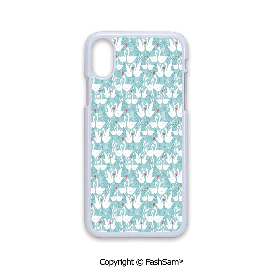 Plastic Rigid Mobile Phone case Compatible with iPhone X Black Edge Swans in Love Paisley Floral Romantic Pastel Color with Hearts Leaves Dandelions 2D Print Hard Plastic Phone Case
