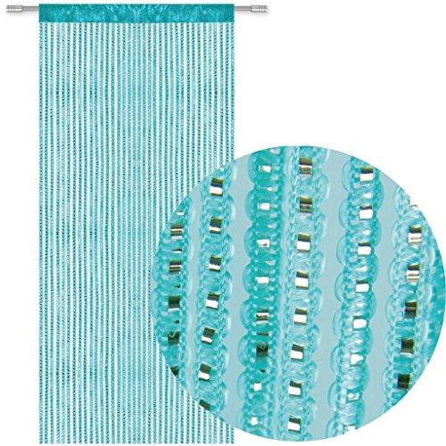 Bestlivings Fadengardine Türvorhang Fadenvorhang Metallikoptik mit Stangendurchzug, trendig schön in vielen erhältlich (90x250 cm/türkis - ozeanblau)