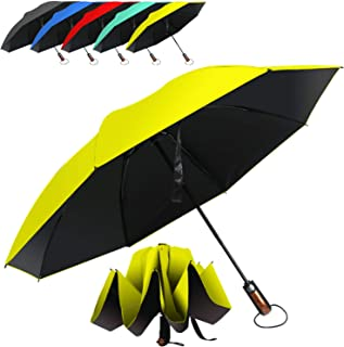 HAILSTORM Folding Reverse Umbrella with UV and UPF50+ Protection - Inverted Windproof Umbrellas with Lightweight Fiberglass Frame - Yellow