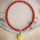 Pulsera de la amistad, pulsera de piedras preciosas Feng Shui Wealth para mujer, colgante de cinabrio natural y cera de abejas, pulsera de cuentas de turquesa, brazalete elástico, amuleto que atrae la