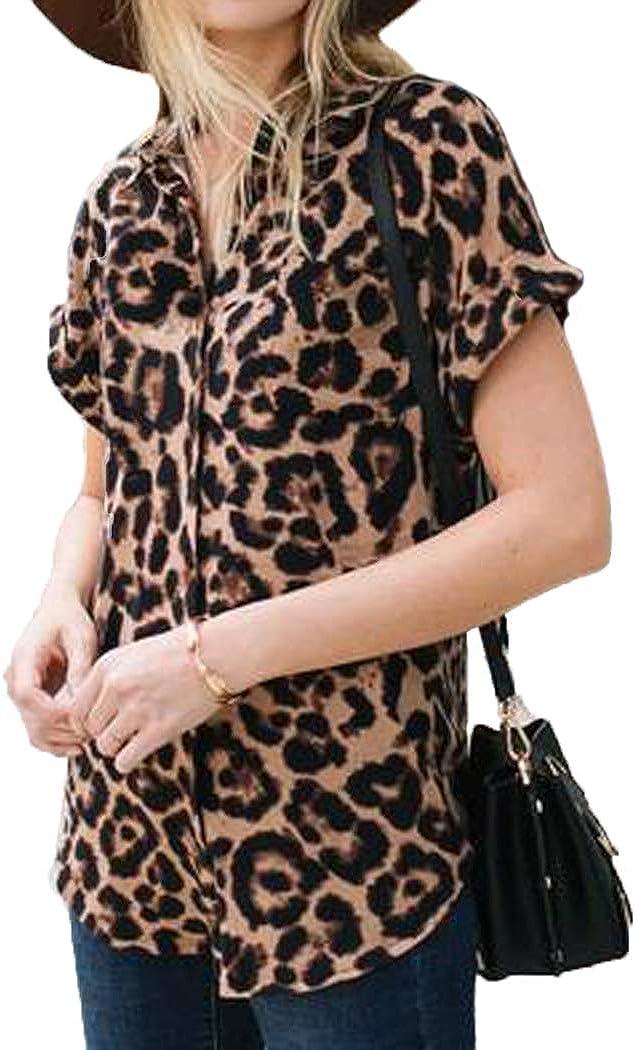 Halife Womens Leopard Print Tops Short Sleeve V Neck Chiffon Button Down Shirt Blouse