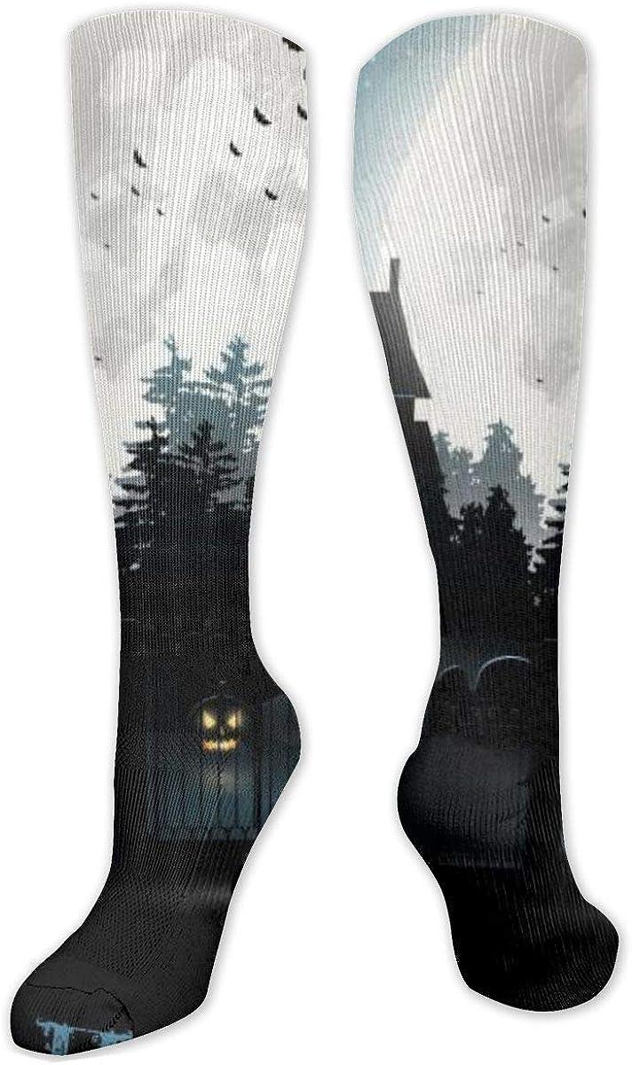 Halloween Moon Knee High Socks Leg Warmer Dresses Long Boot Stockings For Womens Cosplay Daily Wear