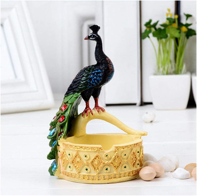 Resina Artesanía Regalo Personalidad Creativa Pavo Real Cenicero Decoración del Hogar Adornos