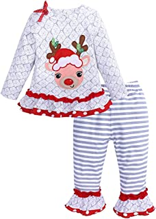 Fairy Baby Toddler Baby Girl 2PC Christmas Clothes Santa Long Sleeve Shirt Pant Outfit Set