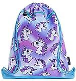 FRINGOO® Kids Drawstring Bag with Front Zipped Pocket PE Kit Bag School Backpack (L:34cm*H:42,5cm, Hologram...