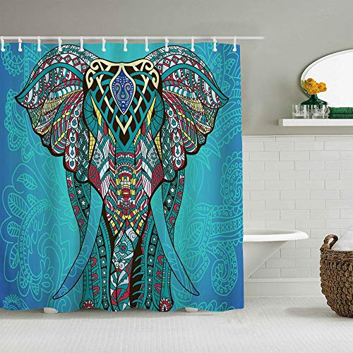 DAHALLAR Duschvorhang,Elefant Indian Bohemian Boho,personalisierte Deko Badezimmer Vorhang,mit Haken,180 * 180