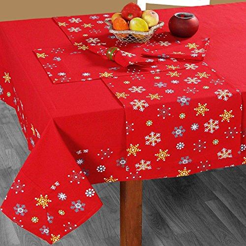 HOMESCAPES Nappe de Noël Rouge, Nappe de Table en Coton à Bordure Flocons de Neige, 137 x 178 cm