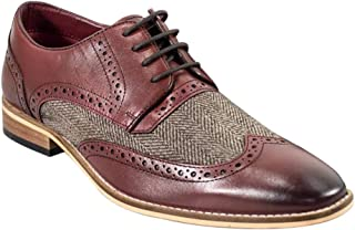 SIRRI Hommes talian Couture Signature Brogue Oxford Chevrons Tweed Cuir Mix Formelle Chaussures