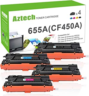 Aztech Compatible Toner Cartridge Replacement for HP 655A CF450A CF451A CF452A CF453A (Black Cyan Yellow Magenta, 4-Packs)