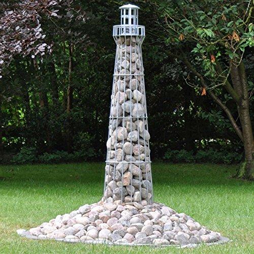VOSS.garden Leuchtturm 1,80m hoch, Gambione, Garten-Dekoration, verzinkt, Metalldeko